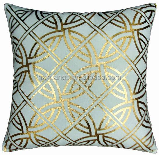 polyester Gold Foil Metallic Printing Custom Pillow Cushion Case Covers Custom Throw Pillow
