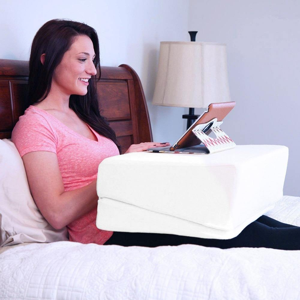 Folding Bed Wedge Pillow Best for Sleeping, Reading, Rest or Elevation Breathable, and Washable Cotton Cover