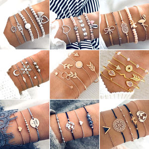 Bohemian Five-piece Bracelet Sets Different Styles Pineapple Turtle Arrow Heart Beaded Charm Bracelet