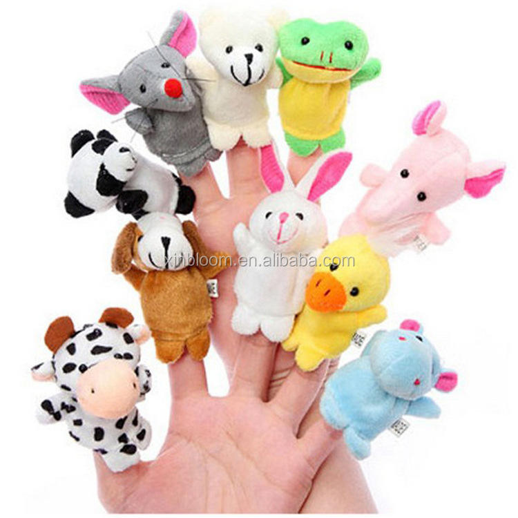 kid's educational 12 pieces in 1 set small animal plush finger puppet toy doll
