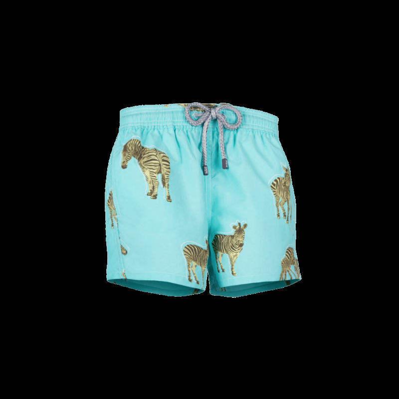 Animal Elephant Giraffe Green Stripes Mens Casual Beach Shorts with Elastic Waist Drawstring Short Pants