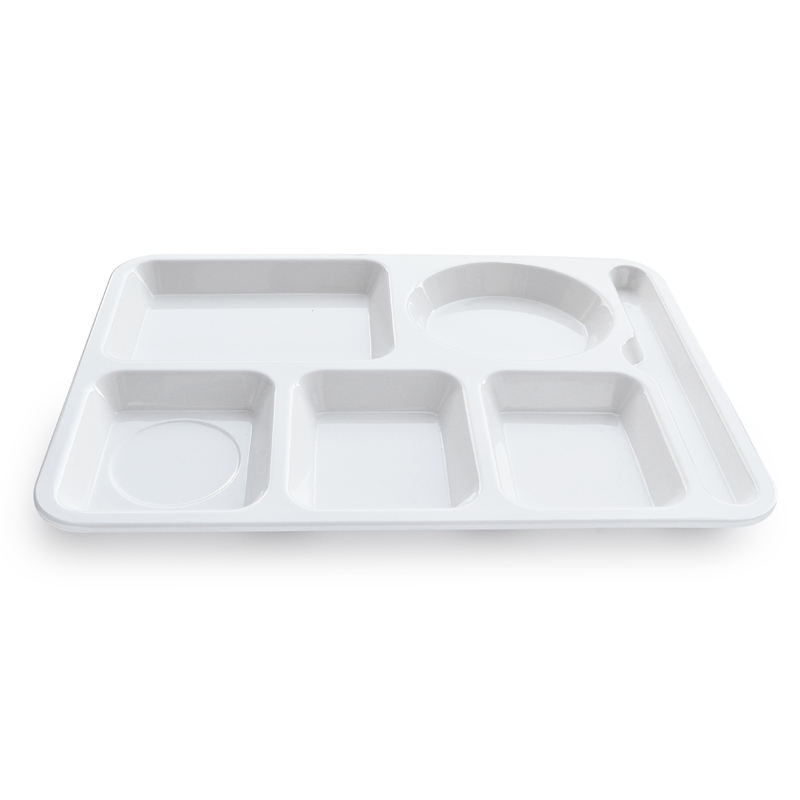 Eco-Friendly melamine 14 inch 6 compartment divided fast food tray hospital food tray for canteen