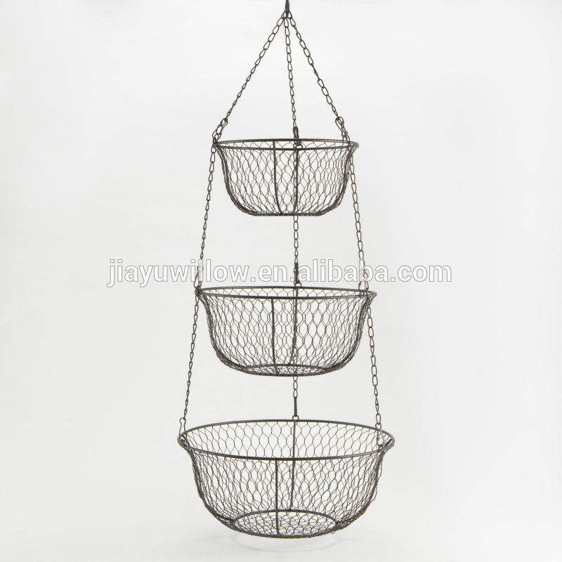 3 tier metal fruit basket 3 tier wall basket 3 tier hanging basket