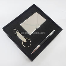 Premium name card case keychain pen metal business gift set
