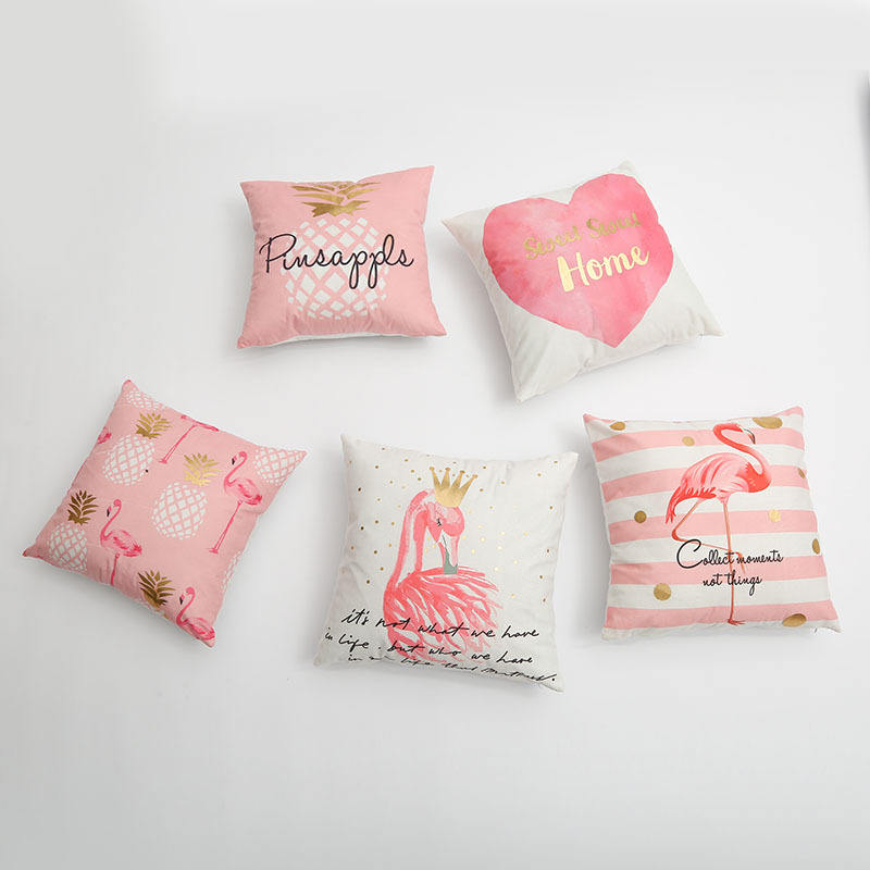 Pink Flamingo Patterns Decorative Gold Foil Printed Pillows/Cushions For Sofa Decor