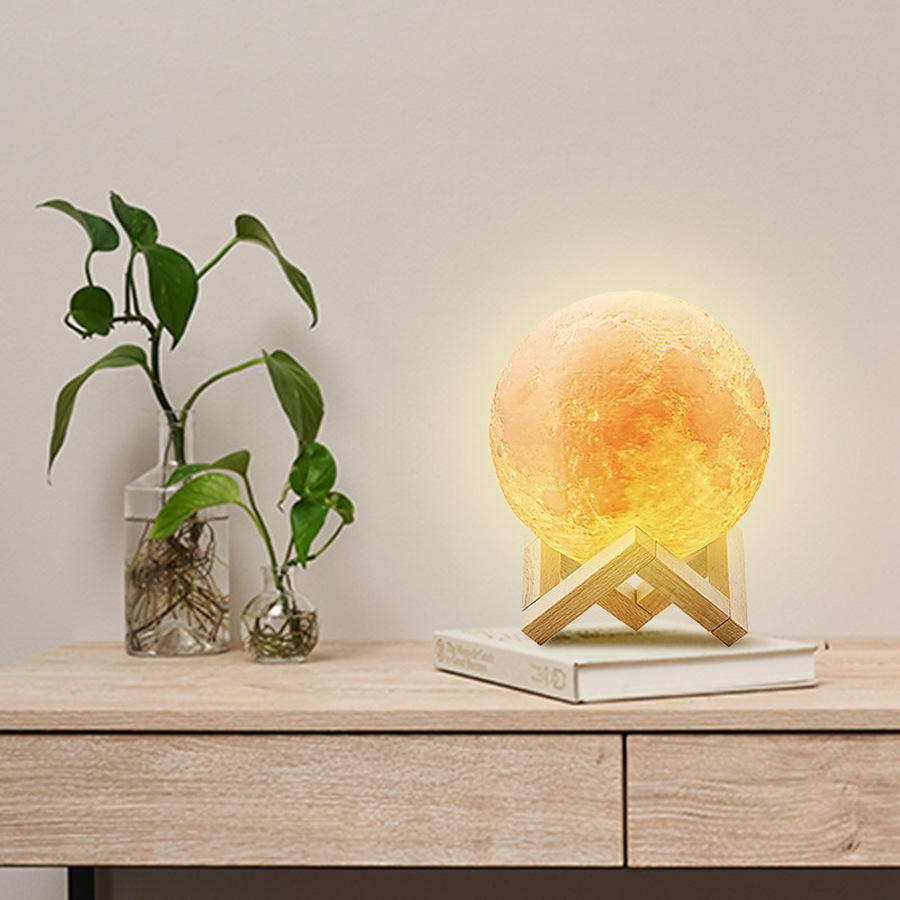 16colors USB Rechargeable Table Desk Home Decoration 3D Print LED Moon Lamp Night Light with Wooden Stand Touch Control Remote