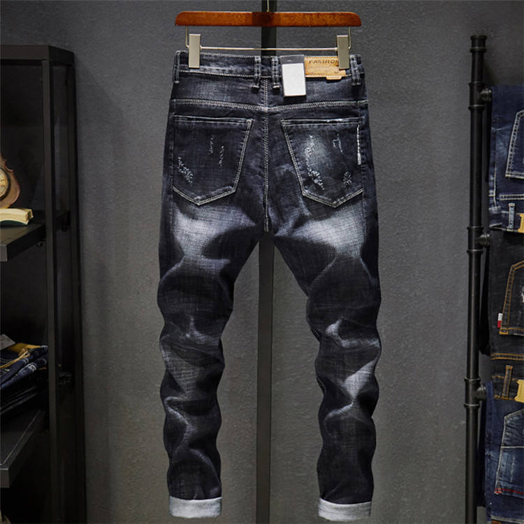 Good quality high cotton customization of individual character for man long black spandex jeans