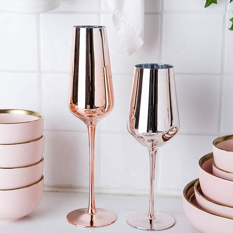 Unique Luxury Custom Fancy Round Handmade Electroplated Crystal Glitter Rose Gold Colored Wine Glass