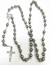 Two tone stainless steel beads long chain cross pendant catholic rosary necklace