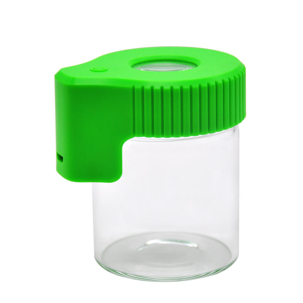 Air Tight Glass Storage Magnifying Weed Stash Jar Herb Container with LED Light and USB Charger Mag Jar