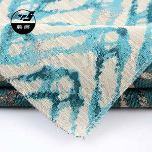 Fashion Cheap Chinese Ink and Wash Painting Pattern Polyester Fabric Upholstery blue Jacquard fabric for sofa cover