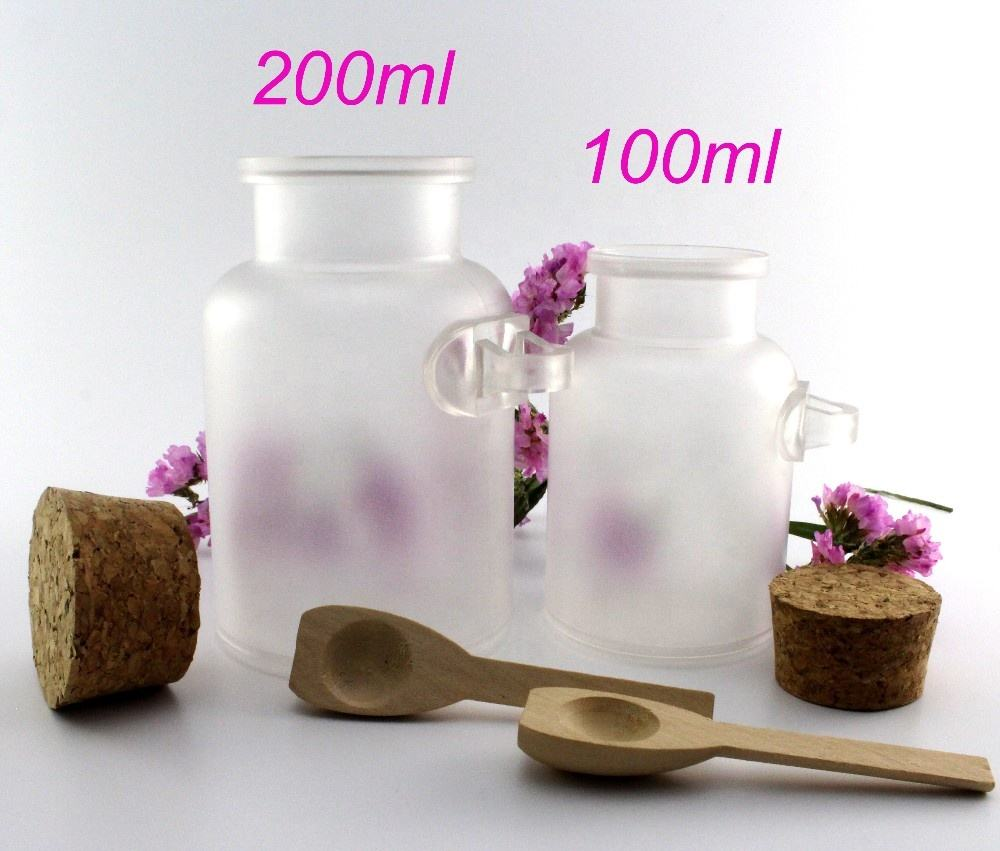 Ready stock plastic empty 100g 200g bath salt jars / body scrub bottle with spoon