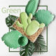 Tropical green cactus plants cheap porcelain dinnerware plate ceramic plates