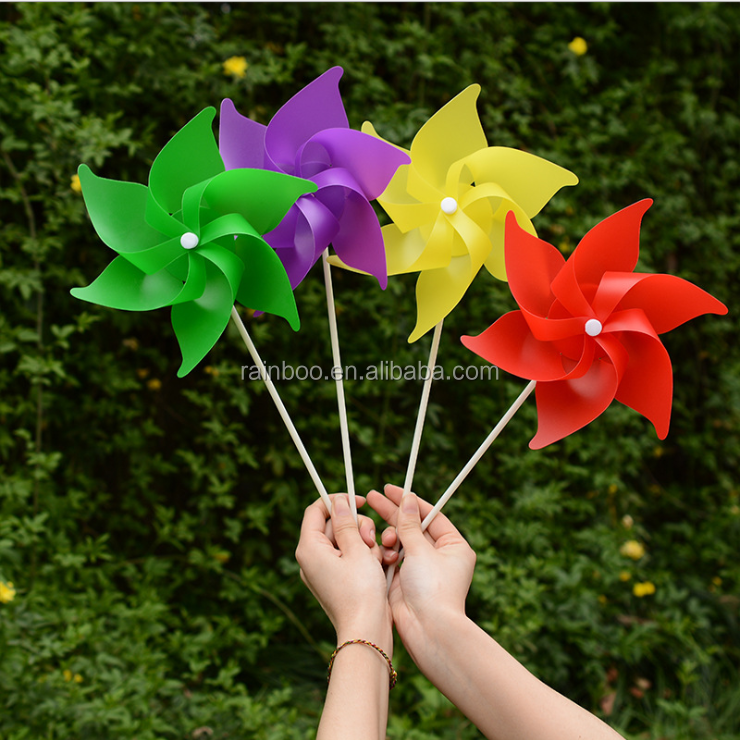 Promotional advertising garden party decoration plastic pinwheel toy windmill toy for kids