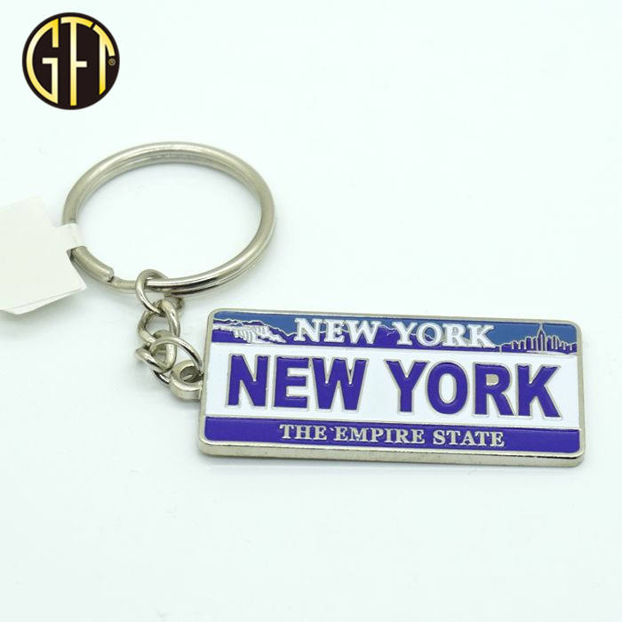 New york souvenir custom enamel metal keychain wholesale souvenir
