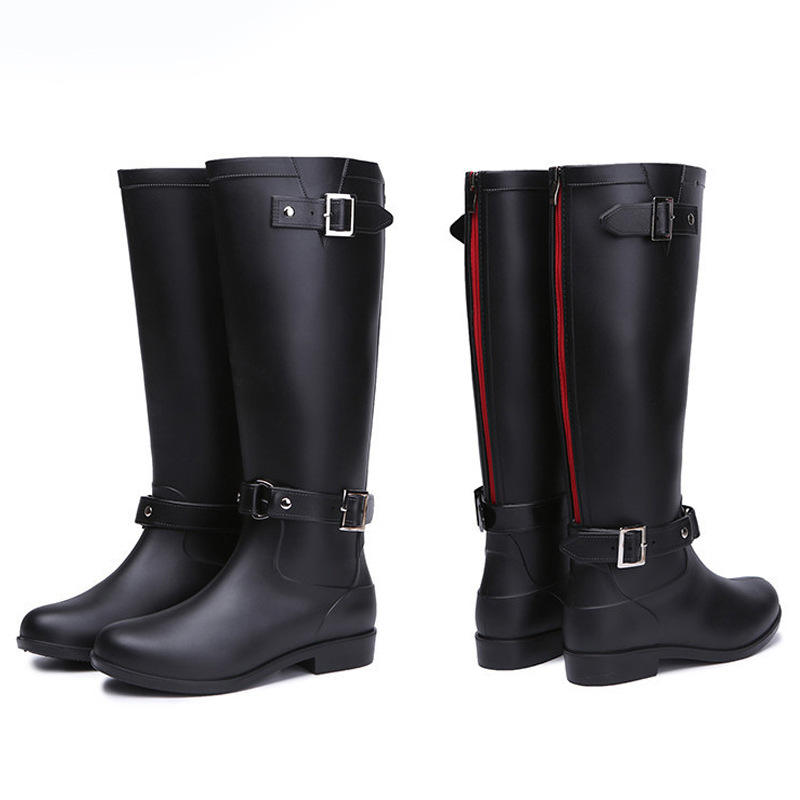 high quality customized ladies sizes slip on antiskid black upper custom printing women's rain boots with back zipper