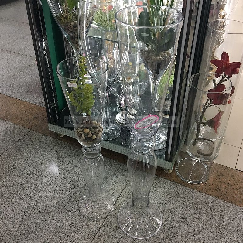 Top quality newly design wedding long stem glass vase for flower