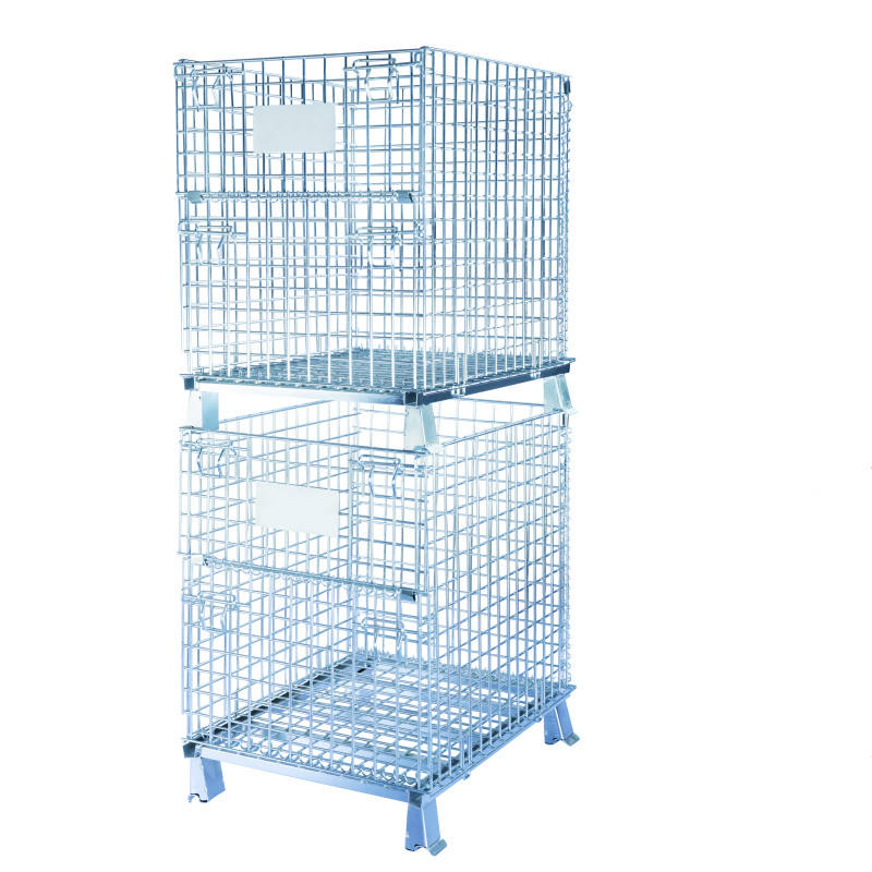 Folding Warehouse Stacking Wire Mesh Steel Lockable Storage Cage