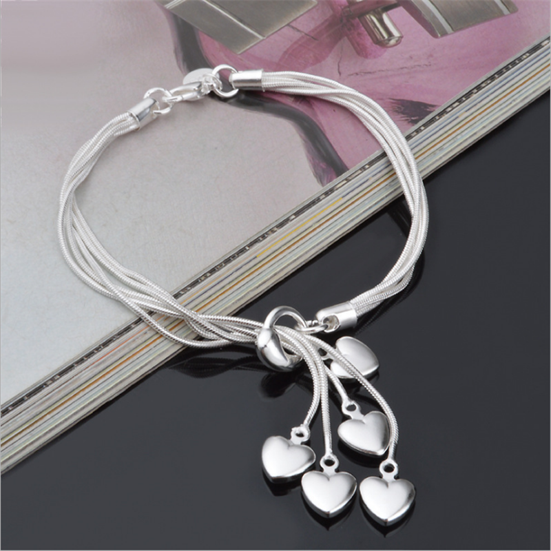 Wholesale 925 Sterling Silver Bracelet Love Bracelet Hook Five Heart High Quality Jewelry Accessories Plated Silver Bracelet