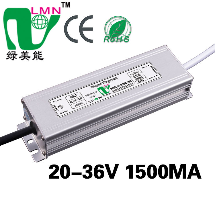 Good quality constant current led driver 1500ma 36v led transformer waterproof IP67