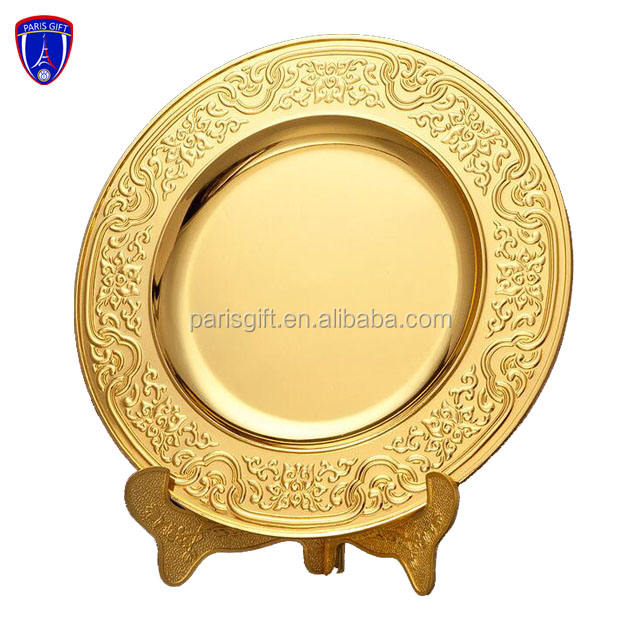 Gold plated metal commemorative plaque with display metal base