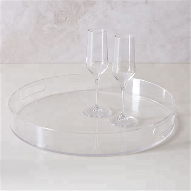 Classic Round Glass Robust Plastic High Quality Serving Tray 35cm