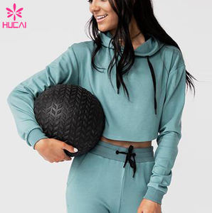Custom 95 Cotton 5 Spandex Gym Women oversized Slim Fit Long Sleeve Crop Top Wholesale fitness pullover Hoodies for women