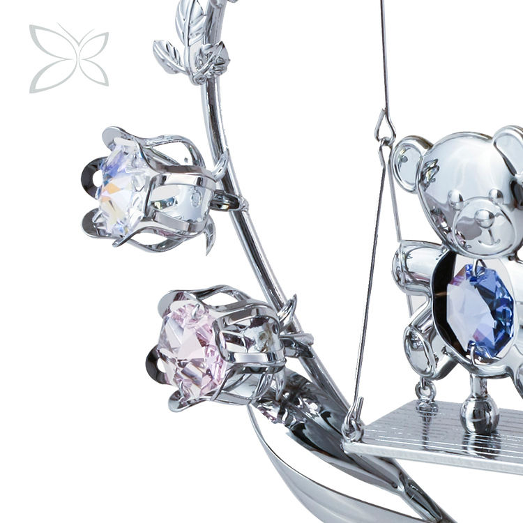 Crystocraft Romantic Couple Teddy Bears Figurine Eternal Rose Flowers Heart Crystals from Swarovski Anniversary Wedding Gift