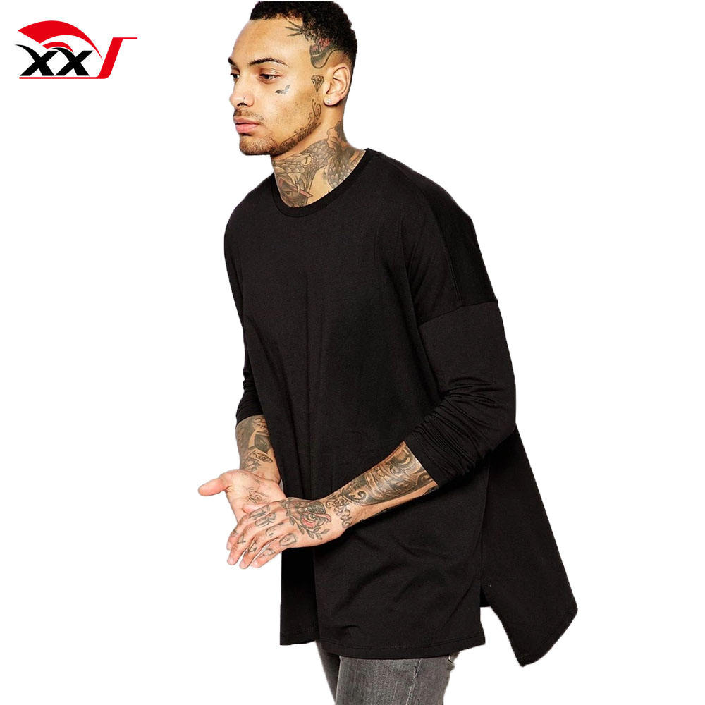 extreme oversized plain long sleeve bamboo shirt with step hem in black loose fit t shirt indian t shirt manufacturer