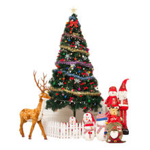 Amazon hot sale outdoor 7ft stand led lighting artificial PVC 2m 1.5m 1.8m 3m christmas tree with ornamentiz