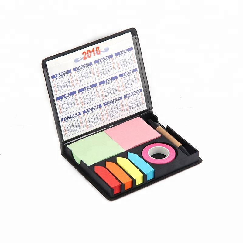 Nieuwe Briefpapier Pu Leather Case Sticky Note Pads Met Balpen En Tape