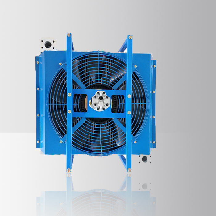 Air to water heat exchanger/hydraulic oil cooler with fan