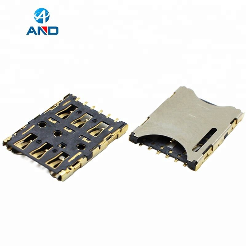 In Acciaio Inox plug in di Tipo 6 Pin Nano SIM Card Connector, 1500 pz/tape, 1.27mm pitch
