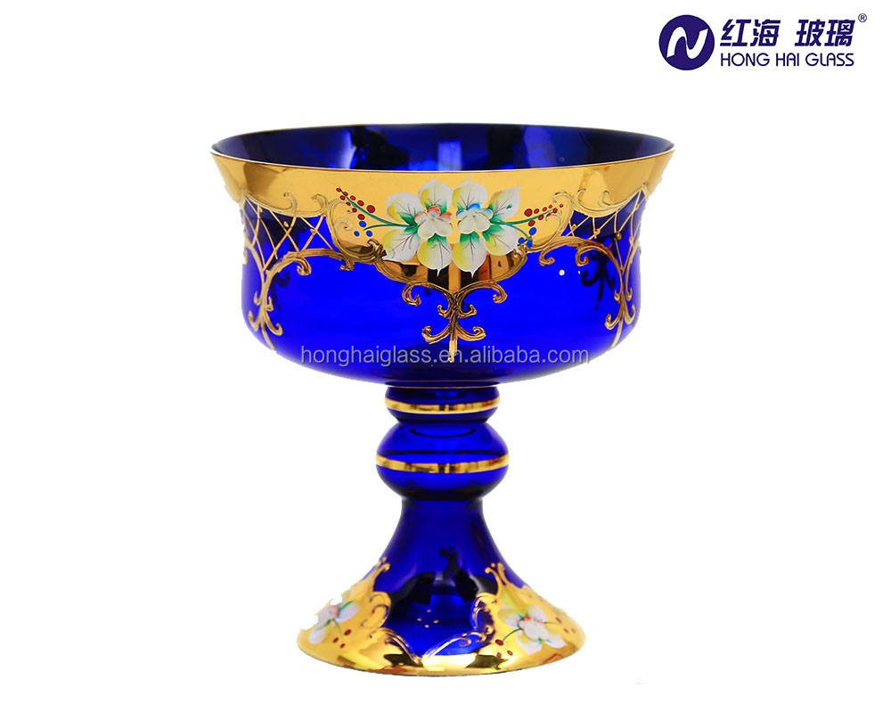 handle high quality glass fruit bowl for home ripening peacock fruit in blue colour with gold plated glass fruit bowl 0895W
