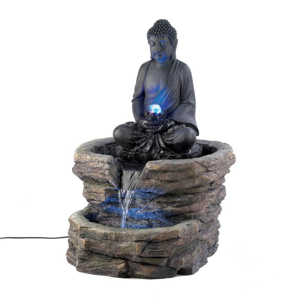 Large Color changing LED Light Thai Hindu BUDDHA Statue Outdoor Fountain polyresin hindu god fountains