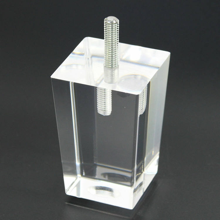 High Polished Clear Acrylic Furniture Legs Drilled Holes Screw Line Lucite Sofa Feet Legs Pyramid