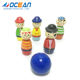 Kids indoor wooden sport toy puzzle ball cool pirate pattern mini bowling pins for sale