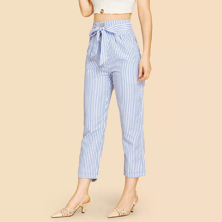 Guangzhou women clothes factory women vertical striped carrot pants