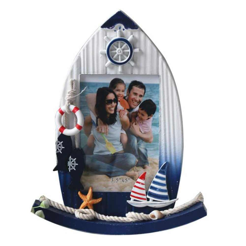5-inch Mediterranean Home Decoration Creative Solid Wood Craft Ocean Style Photo Frame