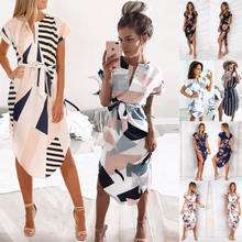 Summer Dresses for Womens Casual V-Neck Floral Print Geometric Pattern Belted Dress