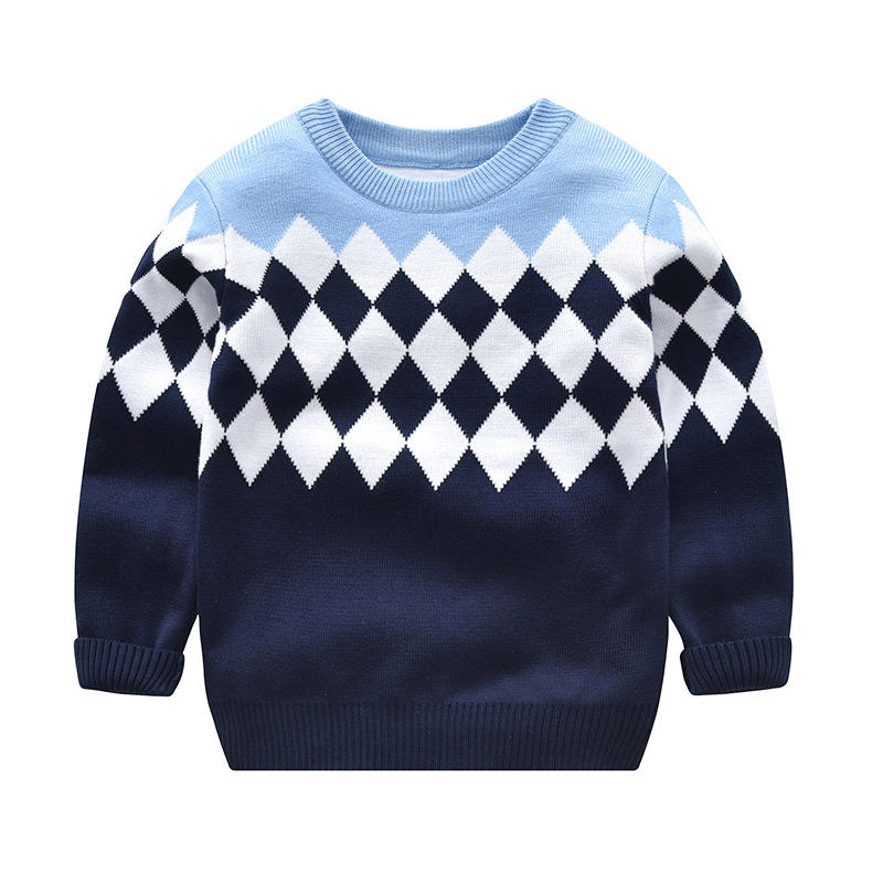 Winter double layer baby boy argyle sweaters kids cute children's pullover costume