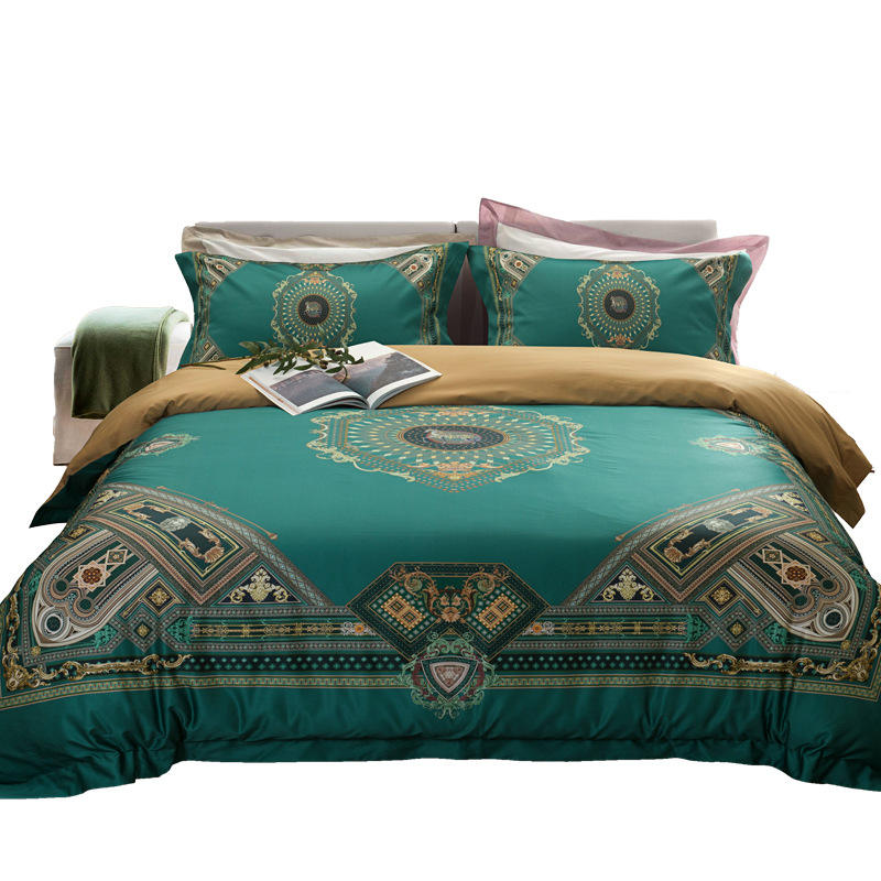 Luxury india style 100 cotton digital printing king green bedding set includes two pillowcases