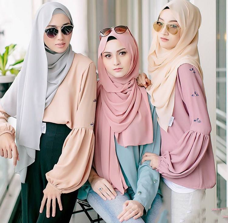 Wholesale dubai instant plain heavy bubble chiffon muslim women head scarf shawl hijab