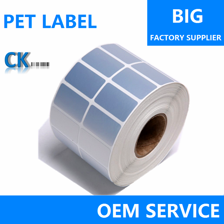 Waterdichte zilver PET/PVC lijm barcode stickers, thermische transfer polyester glossy label