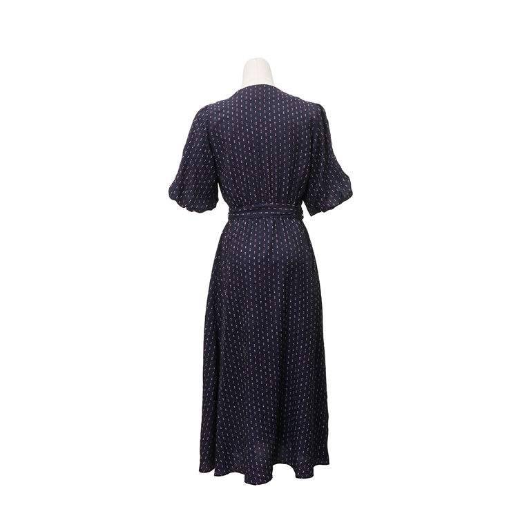 Online shopping anti-wrinkle belt chiffon v-neck women dress with button