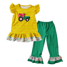 newest remake style tractor embroidery cotton ruffle baby girl boutique clothing