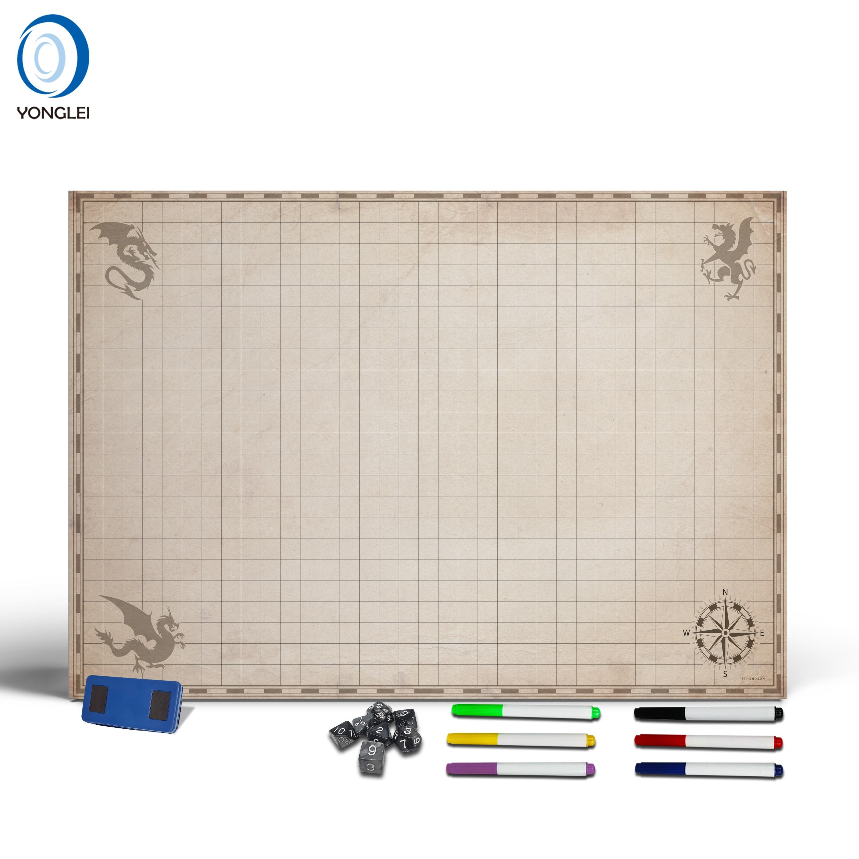 1.2-2A2 Dry erase playing map d&d battle map dungeons and dragons grid map