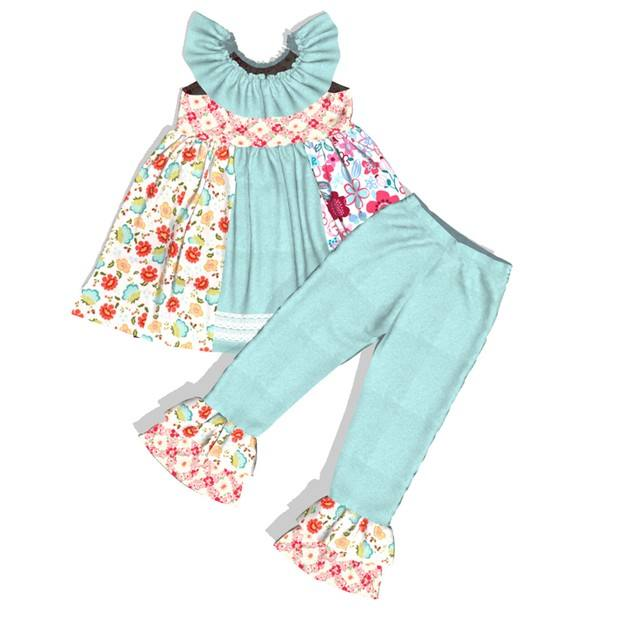 New design little girls boutique remake short sleeve clothing sets froal ruffle outfit