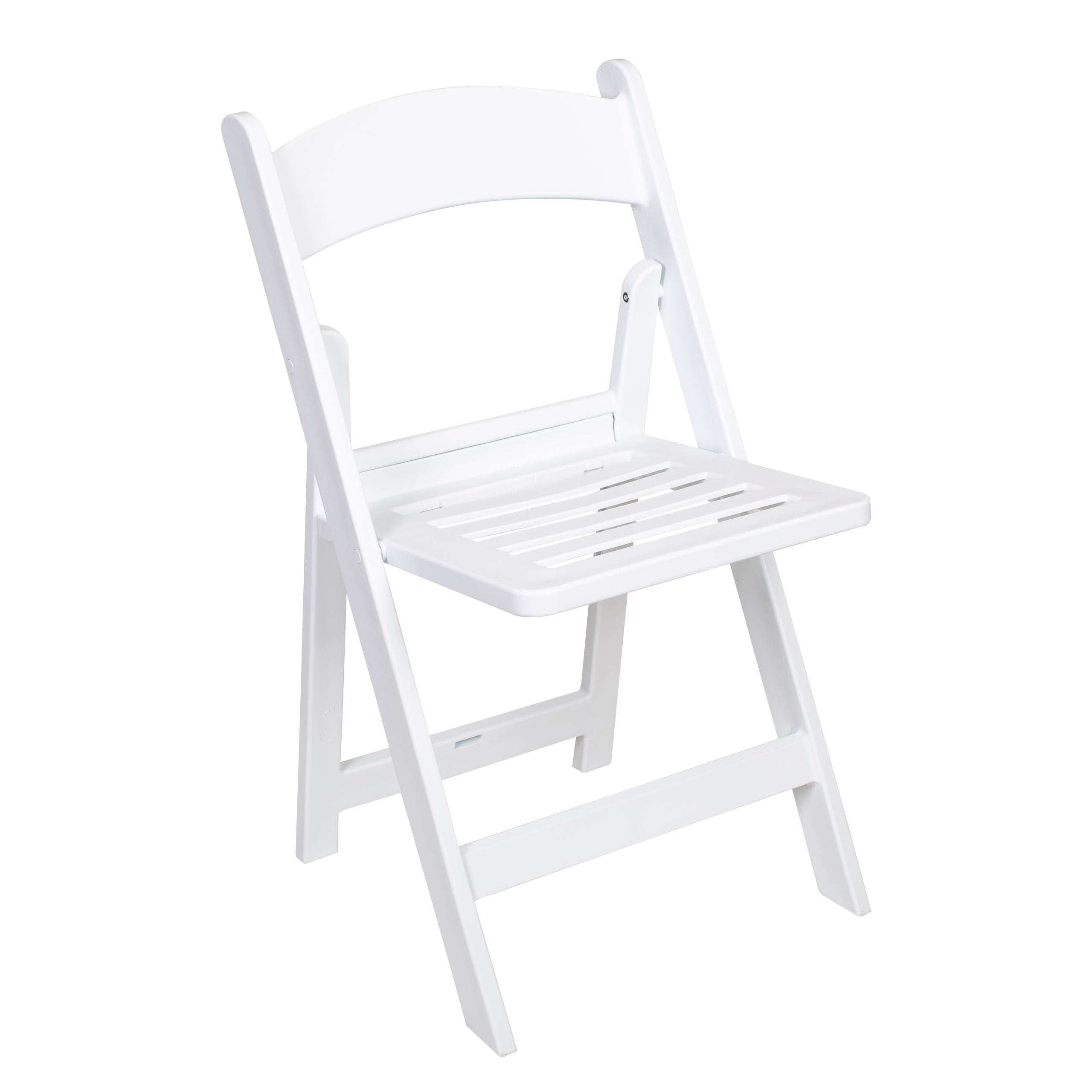 white slat plastic resin stacking folding chairs