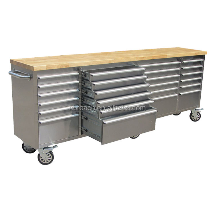 96 inch Stainless Steel Roller Tool Chest with 24 drawers